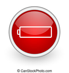 battery red circle web icon on white background