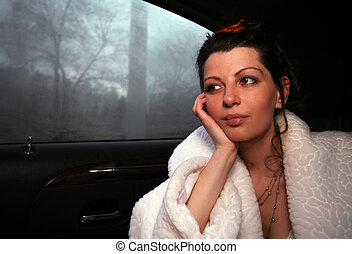 Thoughtful bride - The thoughtful bride in the car