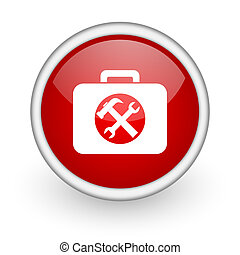 toolkit red circle web icon on white background