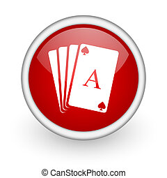 playing cards red circle web icon on white background