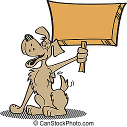 Dog Clip Art Holding Sign in Cartoon Style