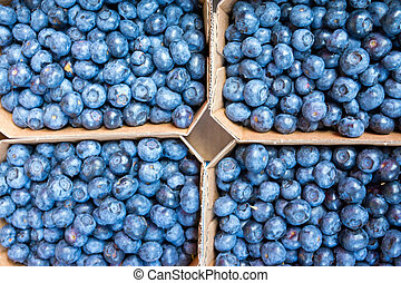 Fresh blueberries for sale at a weekly market