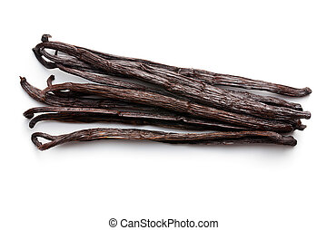 vanilla pods on white background