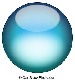 Glassy 3D Button - A 3d sphere isolated over white for...