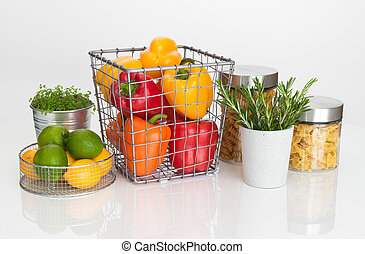 Colorful food ingredients on white background Fruits,...