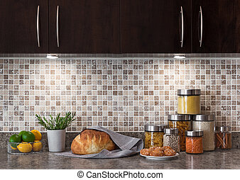 Food ingredients in a kitchen with cozy lighting - Food...