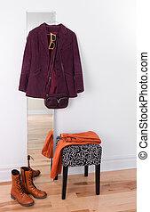 roxo, casaco, espelho, penduradas