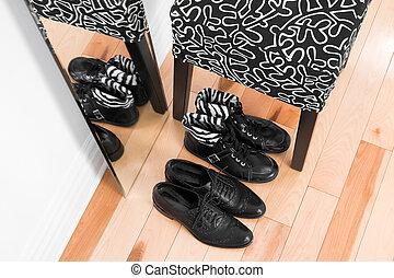 couro, refletir, sapatos, espelho