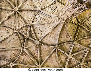 beautiful ceiling in the Jeronimos Monastery in Belem -...