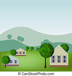 Homes - An image of a homes in a scenic neighborhood.