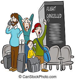 Flight Cancelled - An image of passengers angry about a...