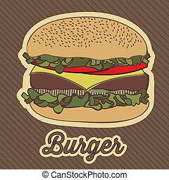 vintage burger - illustration of a vintage burger, fast...