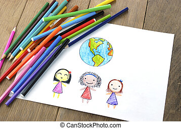 Children of different nationalities and Earth picture on the...