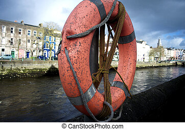 Lifesaver at the riverside in Cork City, Ireland