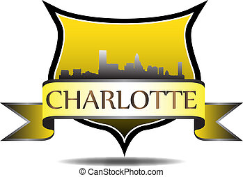 Charlotte Crest - City of Charlotte crest with high rise...