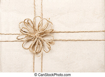 Vintage gift card with ribbon on paper wrap