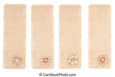 Sackcloth tag with straw decor. Collection isolated white