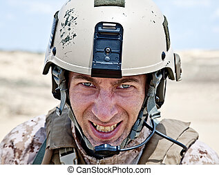 showing teeth - Scary face of US marine in the MARPAT...
