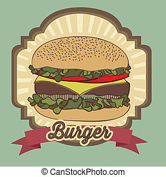 vintage burger - illustration of a vintage burger,fast food,...