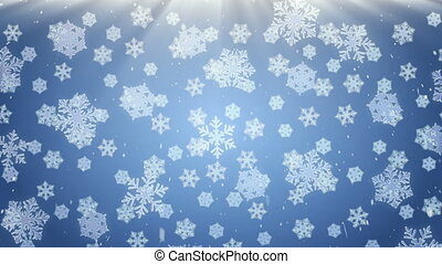 snowflakes falling on blue background, loopable