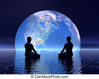 Meditation for earth - 3D render - Two human silouhettes...