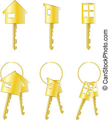 key symbol - Set of three isolated keys and three pairs of...