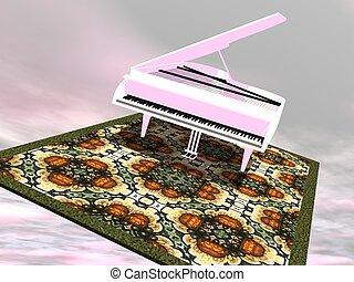 render, 飛行,  -, 鋼琴,  3D, 地毯