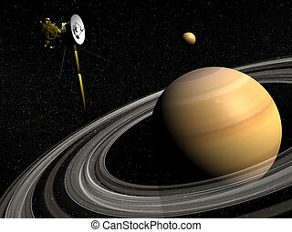 Cassini spacecraft near Saturn and titan satellite - 3D...