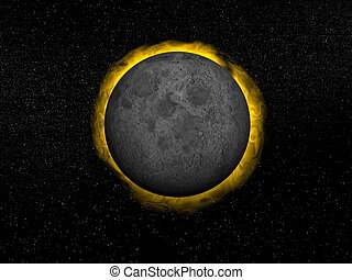 Total eclipse of the sun - 3D render - Moon in front of the...