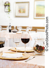 restaurant - Red wine glasses on table in restaurant