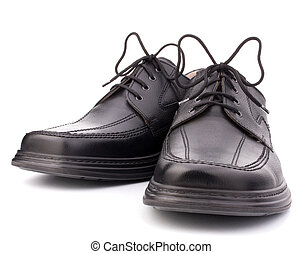 Black glossy man's shoes with shoelaces isolated on white...