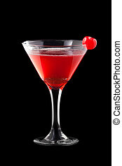 Grand Cosmopolitan coctail isolated on black background