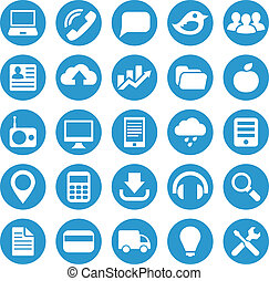 Icons for web site in blue circle. - Icons for the layout...
