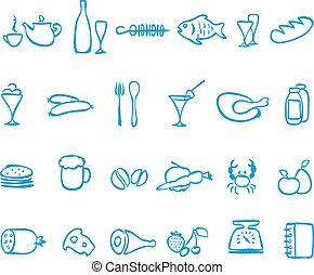 Set vector handwork icons food File in EPS10 format, that...