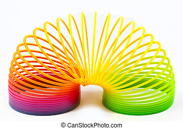 Slinky Toy isolated over a plain white background.