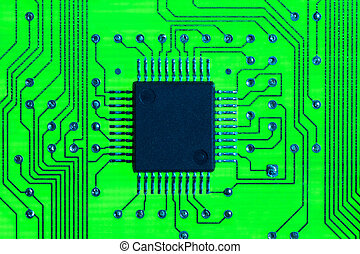 circuitboard - Close-up of computer chip and motherboard of...