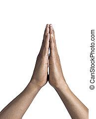785, orando, homem, mãos