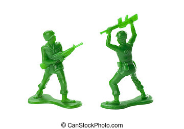 a battle between two toy soldiers