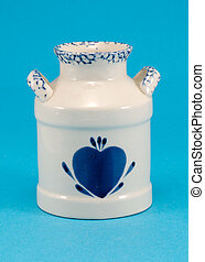 ceramic vase dish blue heart on blue background - ceramic...