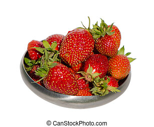ripe strawberry healthy fruit steel dish isolated