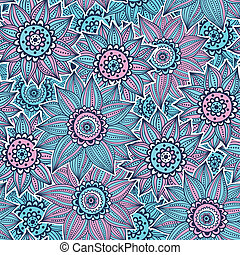 Pink and blue sunflower pattern