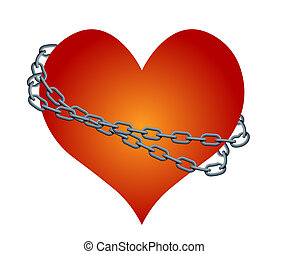 vector chained heart - Abstract image of the chained heart