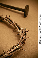 crown of thorns and nails - closeup of a representation of...