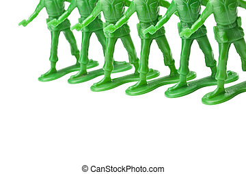 cropped image of green toy soldiers