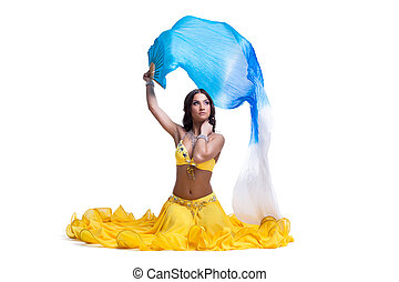 woman in arabic costume with flying veil isolated - Pretty...