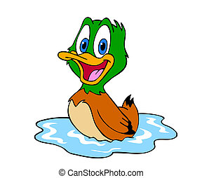 Cute Duck - hand drawn cartoon of a little duck in pond