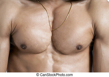 muscular chest - Closed up shot of a muscular man's chest