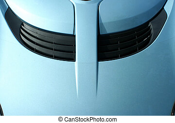 Blue sports car hood with scoop - A Blue sports car hood...