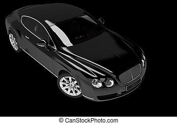 Black modern car over black - 3d render