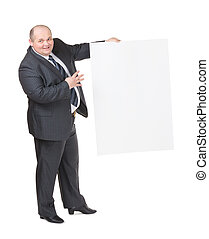 Cheerful overweight man with a blank sign - Cheerful...